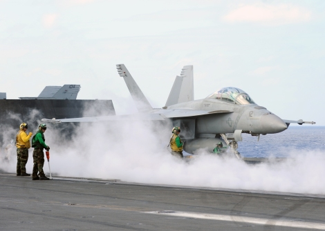 US Navy F/A-18F similar like this one dropped laser guided missiles onto ISIL positions near Erbul