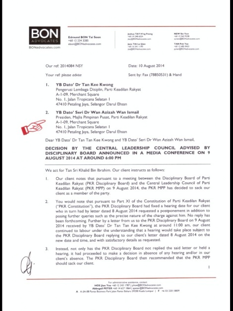 Letter by Messrs Bon & Associates of behalf of Khalid to PKR President Wan Azizah Wan Ismail