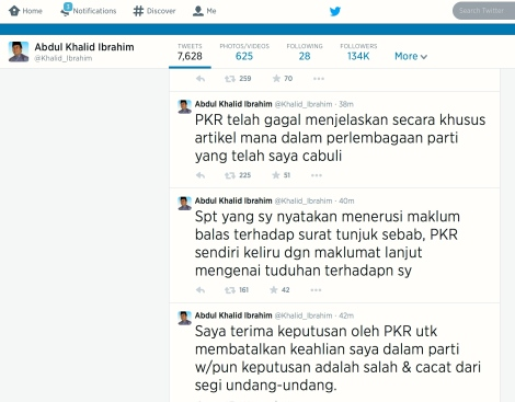 Khalid Ibrahim's tweets of the latest chronic conundrum of PKR Top Leadership to boot him out as MB Selangor, pg1