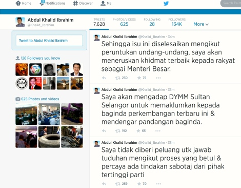 Khalid Ibrahim's tweets of the latest chronic conundrum of PKR Top Leadership to boot him out as MB Selangor, pg2
