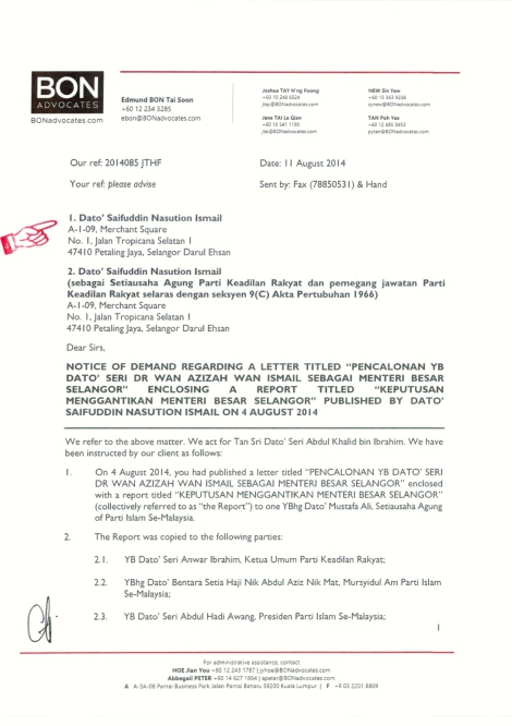 Letter from Messrs. Bon & Associates to Saifuddin Nasution Ismail, Pg 1