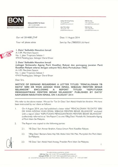 Letter from Messrs. Bon & Associates to Saifuddin Nasution Ismail, Pg 1