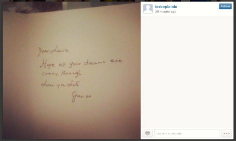 "A note from ""Gran"" to ""Laura"" in the Instagram"