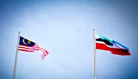 The Jalur Gemilang and Sabah flag