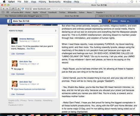 Alvin Tan's Facebook posting 26 September 2014