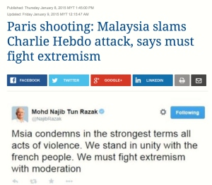 Prime Minister Dato' Seri Mohd. Najib Tun Razak's tweet, condemning the attack on Charles Hedbo editorial office