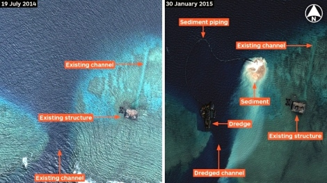 Airbus Defence and Space imagery dated 19 July 2014 and 30 January 2015 shows the start of dredging by China at Mischief Reef in the Spratly Islands. (CNES 2014/Distribution Airbus DS/IHS)