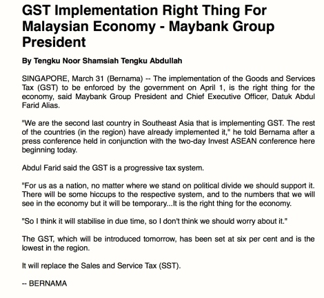 Maybank Group President Dato' Abdul Farid Alias's statement on GST