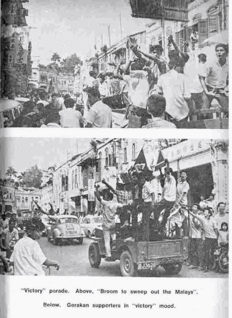 "The photos from the pre 13 May 1969 racial riots where supporters of Dap and Gerakan paraded through streets of Kuala Lumpur and part of Kg Baru holding up brooms and chanting ""Melayu balk kampung, tan am jagung!"""