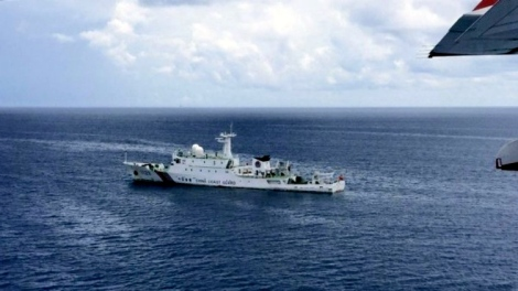 Armed Chinese Coast Guard light frigate, photographed at Beting Patinggi Ali