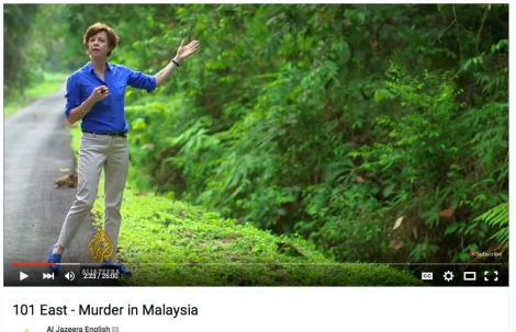 Mary Ann Jolley taking Al-Jazeera viewers on the imagination trip on 'Murder in Malaysia'