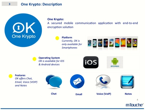 The different platforms of mobile communication enabled to be encrypted by One Krypto