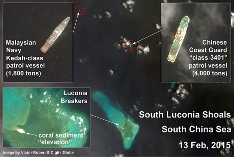 Satellite photo clearly demonstrating the PLA-N frigate at Beting Patinggi Ali, which part of Malaysian EEZ