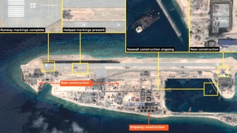 Extensively China PLA-Navy built military installation on Fiery Cross Reef