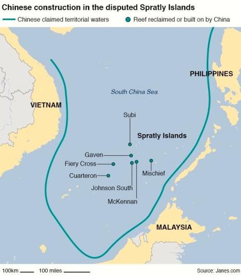Map showing Chinese construction in the disputed Spratly Islands