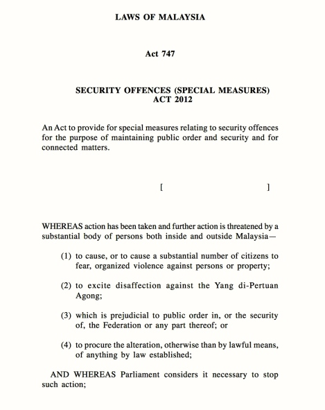 Security Offices (Special measures) Act 2012, also known as SOSMA