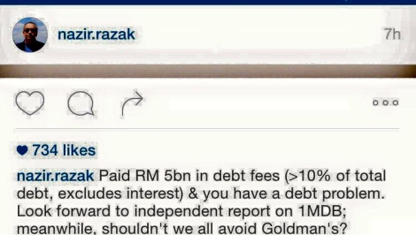 Nazir Razak's comment on social media about 1MDB alleged fees to Goldman Sachs