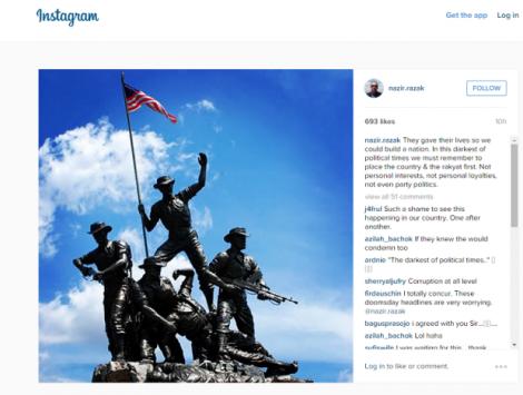 A screen capture showing Datuk Seri Nazir Razak's instagram post.