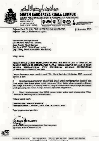 Soory note from DBKL to UDA Holdings