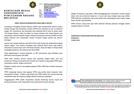 MACC statement on 3 August 2015