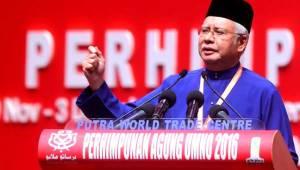 UMNO President Dato' Sri Mohd. Najib Tun Razak delivering the keynote adddress for UMNO GA 2016